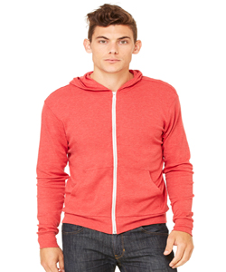 Bella+Canvas Unisex 5.6 Ounce Triblend Full-Zip Lightweight Hoodie